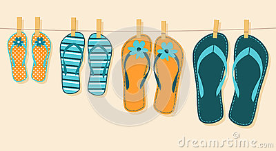 family-summer-vacation-illustration-four-pairs-flip-flops-concept-32663461